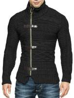 Bbalizko Mens Cable Knit Sweater Stand Collar Zip Button Front Slim Fit Cardigans