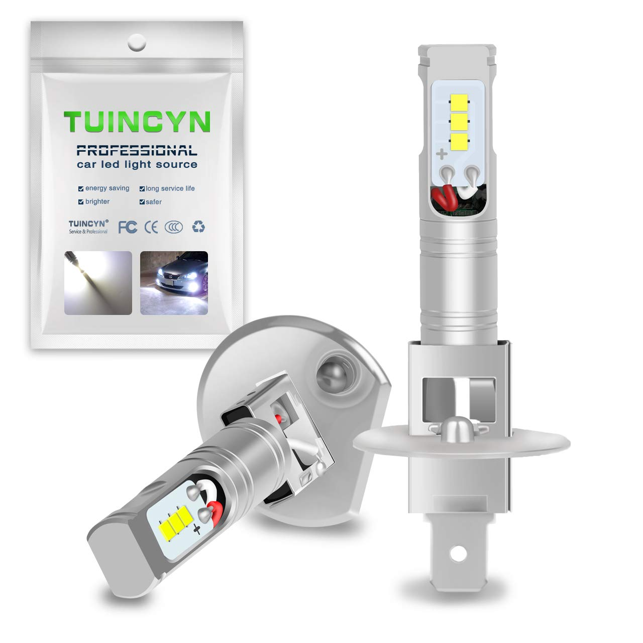 TUINCYN 1600Lm Extremely Bright H1 LED Fog Light Bulbs Replacement 6500K White High Power 80W CSP Chips DRL Daylight LED Bulb DC 12V-24V (2-Pack)