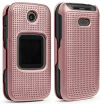 Case for Alcatel Smartflip/Go Flip 3, Nakedcellphone [Rose Gold Pink] Protective Snap-On Cover [Grid Texture] for Alcatel Go Flip 3, Alcatel Smartflip Phone (2019) 4052R/4052C/4052W