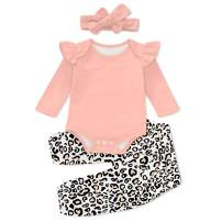 UNICOMIDEA 3PCS Newborn Baby Girl Outfits Infant Romper Ruffle Floral Long Pants with Headband for 0-24 Months