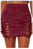 Meyeeka Womens Sexy High Waist Lace Up Bodycon Faux Suede Split Tight Mini Skirt