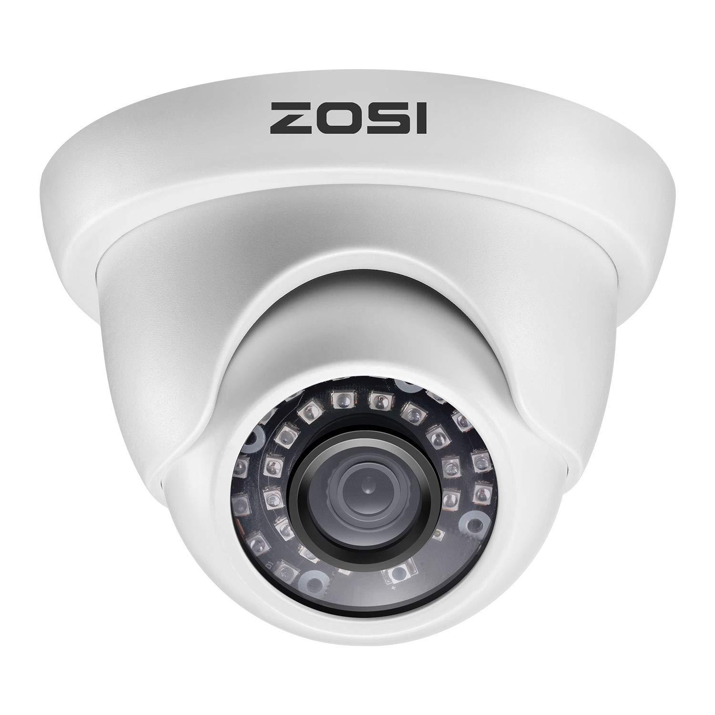 ZOSI 1080P 1920TVL Hybrid 4-in-1 TVI CVI AHD CVBS Security Surveillance CCTV 2.0MP HD Dome Camera Weatherproof 65ft IR Day Night Vision For HD-TVI, AHD, CVI, and CVBS 960H analog DVR System White