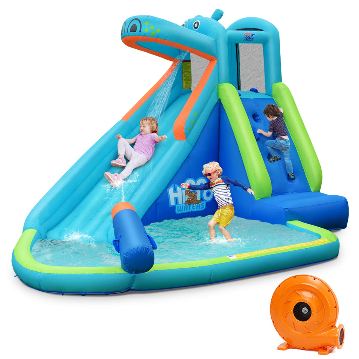 BOUNTECH Inflatable Water Slide, Hippo Themed Bounce House, Bouncer Park w/ Splashing Slide, Climbing Wall, Water Cannon, Including Carry Bag, Stakes, Repair Kit, Hose (with 740W Air Blower)