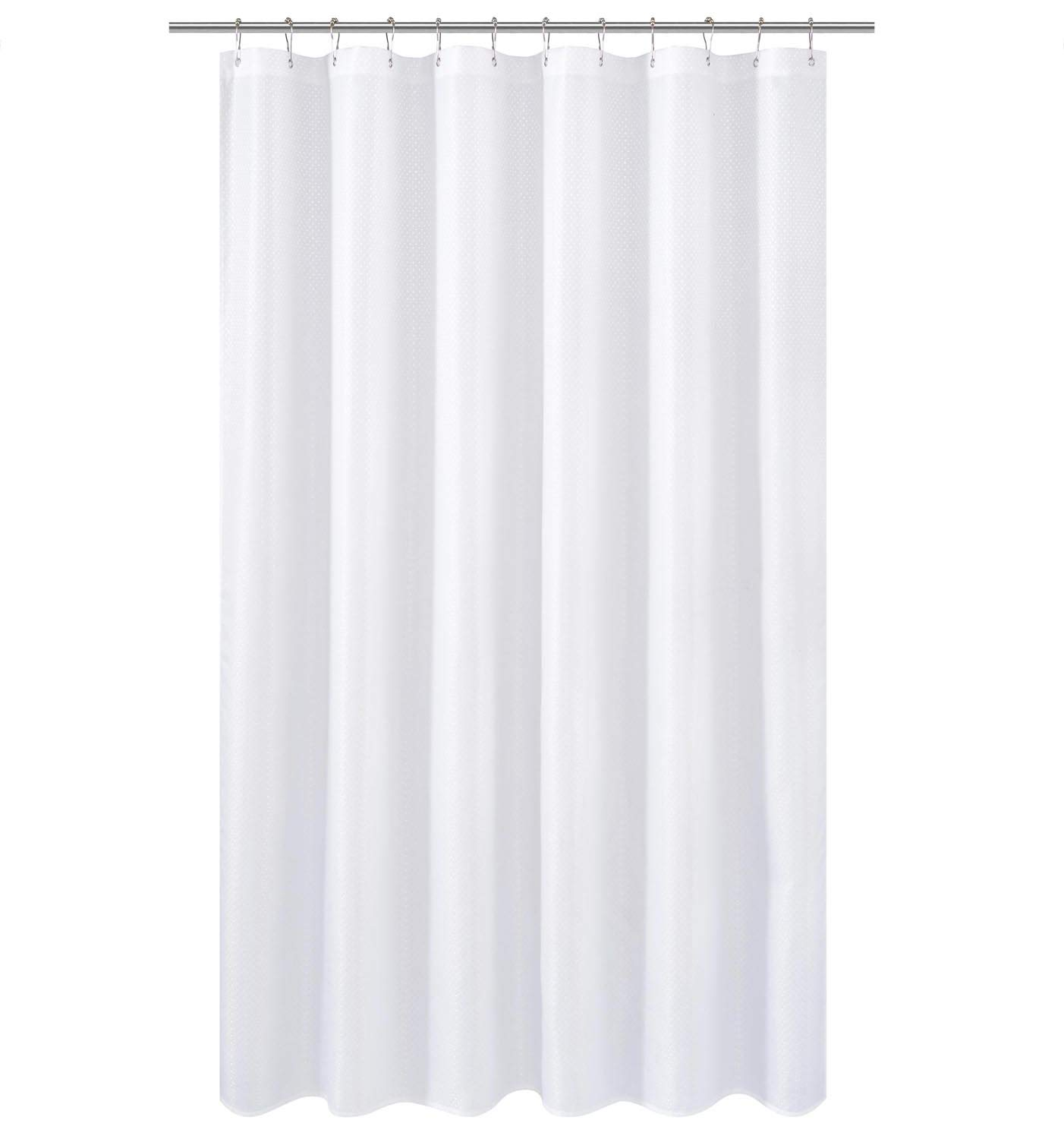 N&Y HOME Long Fabric Shower Curtain Liner or Shower Curtain 78 inches Height, Hotel Quality, Washable, Water Repellent, Diamond Patterned White Bathroom Curtains with Grommets