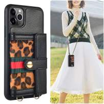 iPhone 11 Pro Wallet Case, JLFCH iPhone 11 Pro Crossbody Case with Zipper Credit Card Slot Holder Wrist Strap Lanyard Protective Women Girl Leopard Print Purse for iPhone 11 Pro, 5.8 inch - Black