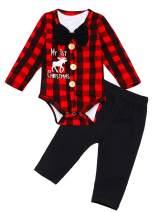 Baby Boy Christmas Outfit My 1st Christmas Gentleman Suit Bowtie Romper Bodysuit +Pants 3PCS Clothes Set