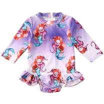 Baby Girls Long Sleeve One-Piece Swimsuit Leopard Flamingo Mermaid Ruffle Zipper Rash Guard Swimwear Bathing Suit