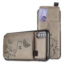 iPhone X Wallet Case, iPhone Xs Case, Slim PU Leather Embossed Butterfly Design with Matching Detachable Slide Out Card Slot Organizer for Women [Butterfly Pull Out - Gray]