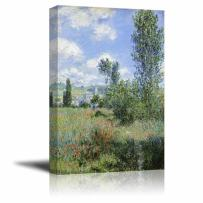 """wall26 - View of V¨¦theuil by Claude Monet - Canvas Print Wall Art Famous Oil Painting Reproduction - 24"""" x 36"""""""