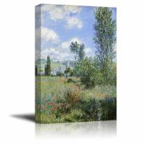 "wall26 - View of V¨¦theuil by Claude Monet - Canvas Print Wall Art Famous Oil Painting Reproduction - 24"" x 36"""