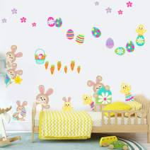 IARTTOP Colorful Easter Theme Wall Decal, Adorable Bunny Easter Eggs Flower Wall Sticker for Kids Room Nursery Classroom Decor, Watercolor Happy Easter Wall Art