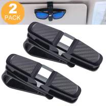 Glasses Holder for Car Sun Visor, 2 Pack Sunglasses Eyeglasses Mount for Car,Double-Ends Clip -180° Rotational Car Glasses Holder with Ticket Card Clip (2 Pack Black)