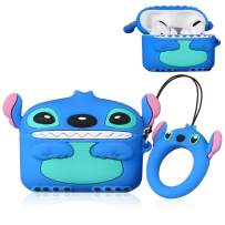Gift-Hero 3D Blue Stitch Case for Airpods Pro/for Airpods 3, Cartoon Funny Cute Design for Girls Boys Kids, Unique Carabiner Protective Fun Fashion Character Skin Soft Silicone Cover for Air pods 3
