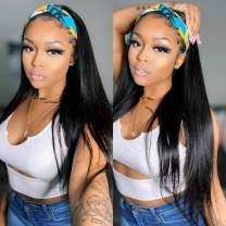 ISEE Headband Wig Straight Human Hair Wigs for Black Women 180% Density Brazilian Virgin Hair Machine Made Headband Wig Non Lace Front Human Hair Wigs 18 inch