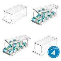 iDesign Plastic Canned Food and Soda Can Organizer with Lid for Refrigerator, Freezer and Pantry, BPA-Free, Set of 4, Clear