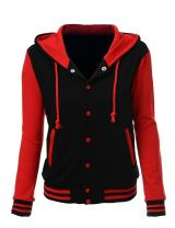 Xpril Women's Stylish Color Contrast Long Sleeves Hoodie Varsity Jacket