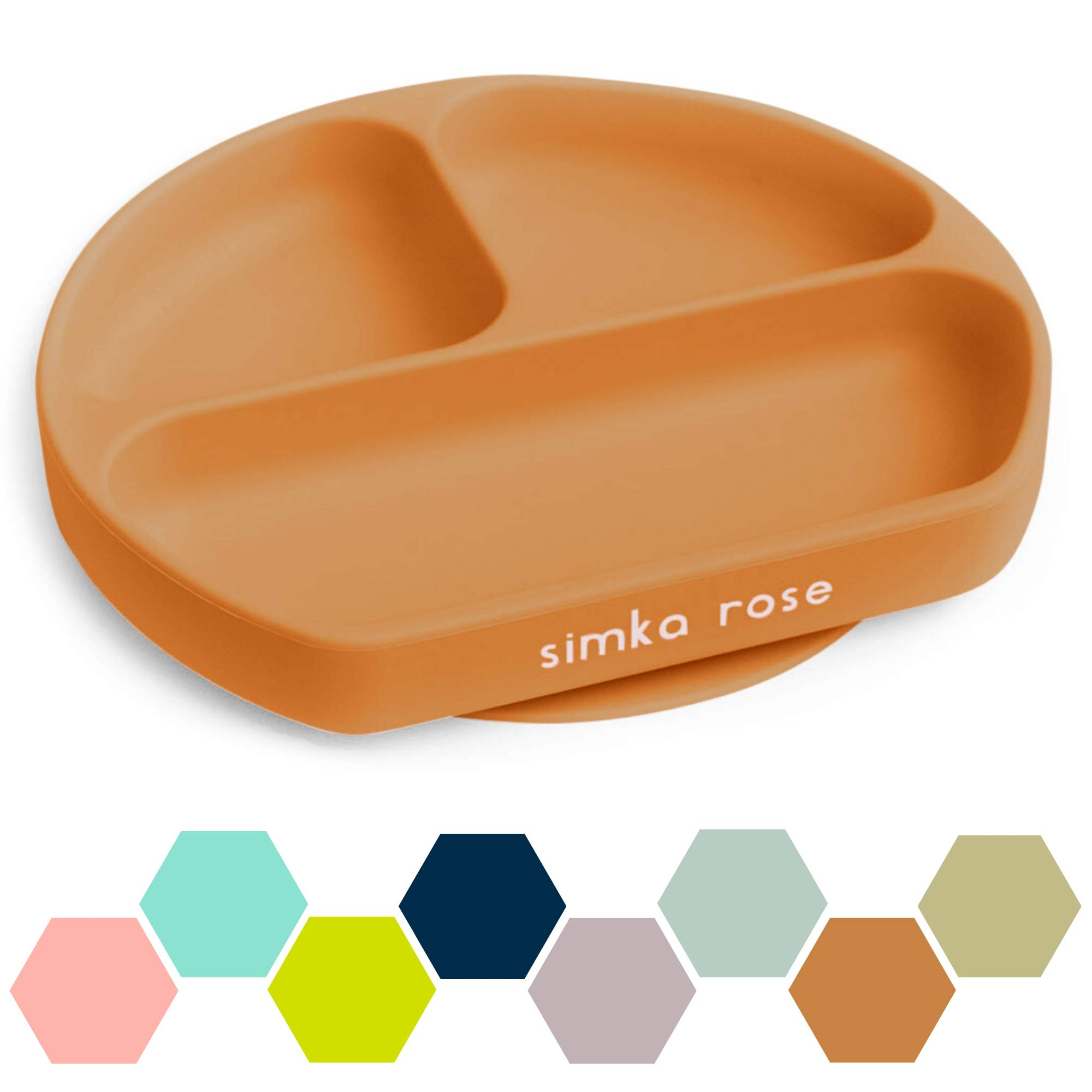 Simka Rose Suction Plate for Baby and Toddler - Divided Silicone Plate - BPA Free - Dishwasher and Microwave Safe - Premium Baby Shower Gift (Rust)