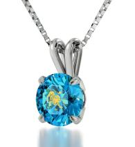 """925 Sterling Silver Leo Necklace Zodiac Pendant for Birthdays 23rd July to 22nd August 24k Gold Inscribed with Star Sign and Symbol on Solitaire Set Swarovski Crystal Stone, 18"""" Chain"""