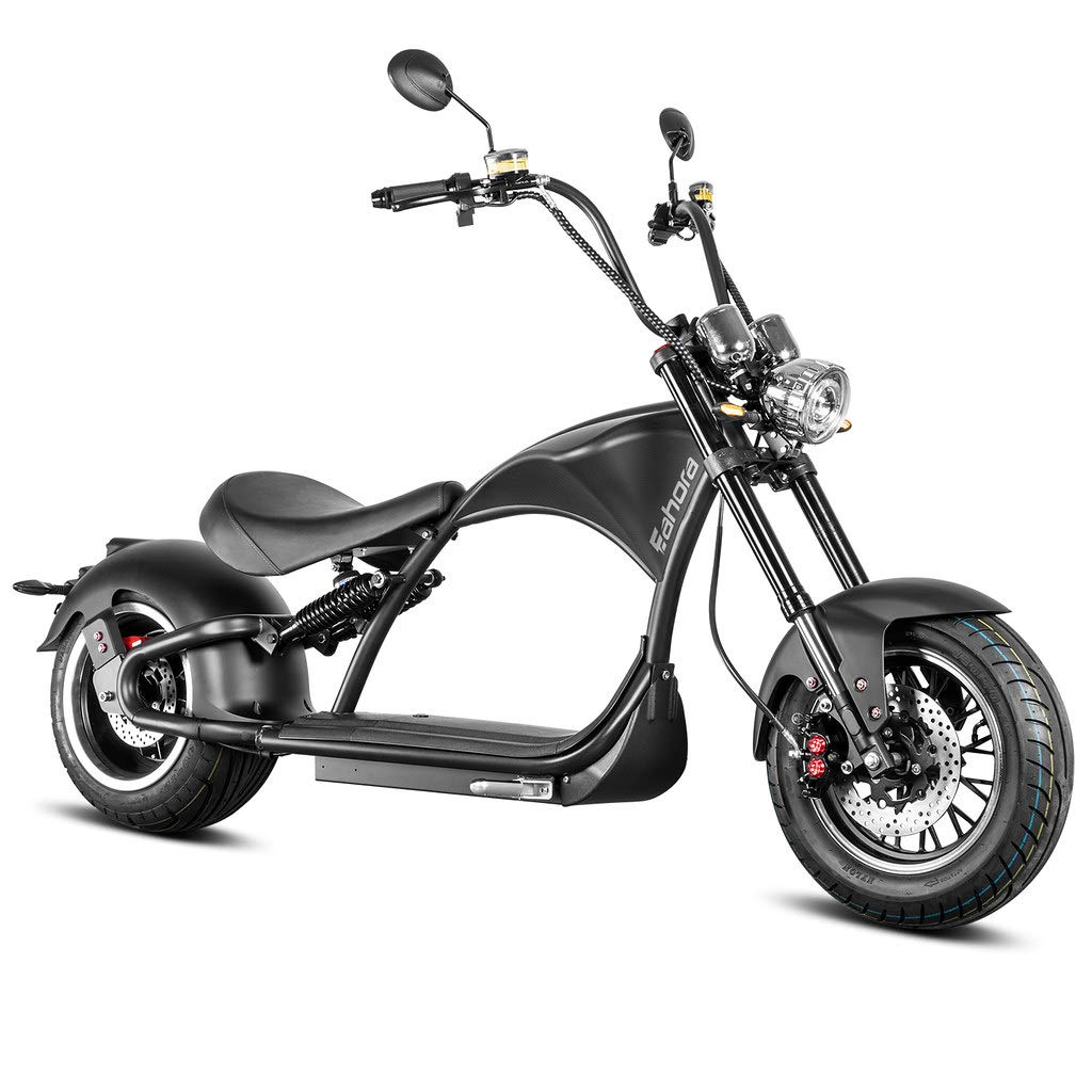 """Eahora M1P 2000W Electric Motorcycle for Adults 60V 30ah Lithium Battery Rear Motor 12"""" Vacuum Tires Retro Electric Scooter Dual Hydraulic Disc Brake Full Suspension for Urban Commuting,1-2 Person"""