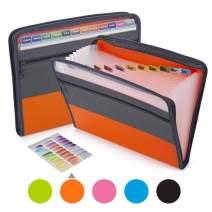 Sooez Expanding File Folder with Sticky Labels, 13 Pocket Accordion File Folder Document Organizer Expanding Zip File Folder with Zipper Closure, Letter A4 Paper Document Accordion Folder, Orange