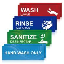 Wash Rinse Sanitize Sink Labels, Hand Wash Only Sign, 8 Pack 3 Compartment Sink Waterproof Sticker Signs for Wash Station, Commercial Kitchens, Restaurant, Food Trucks, Busing Stations, Dishwashing