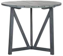 Safavieh PAT6733B Outdoor Collection Cloverdale Round Table, Ash Grey