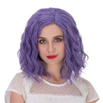Alacos Fashion 35cm Short Curly Full Head Wig Heat Resistant Daily Dress Carnival Party Masquerade Anime Cosplay Wig +Wig Cap (Dark Purple)
