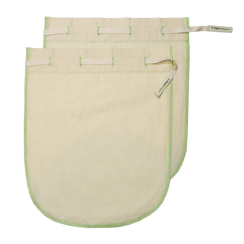 Simple Ecology Worlds Best Reusable Organic Cotton Muslin Fine Mesh Straining Bags - Nutmilk Set (Large 2 Pack) (cold brew, coffee filter, loose leaf tea infuser, food yogurt juice pulp strainer)