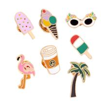 WINZIK Lapel Pins Set Novelty Cute Cartoon Brooch Badges for Children Adults Clothes Backpacks Decor (Flamingo Coconut Tree Pins Set of 7)
