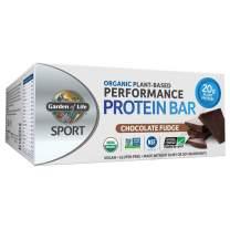 Garden of Life Sport Protein Bars, Organic Plant Based High Protein Bars - Chocolate Fudge, 20g Pure Protein per Bar, 3.5g BCAAs, 10g Fiber, Vegan, Organic, Non-GMO, Gluten Free, 12 Count