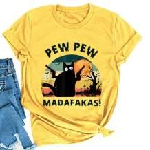 Noffish Women Pew Pew Madafakas T-Shirt Funny Pew Pew Cat Shirt