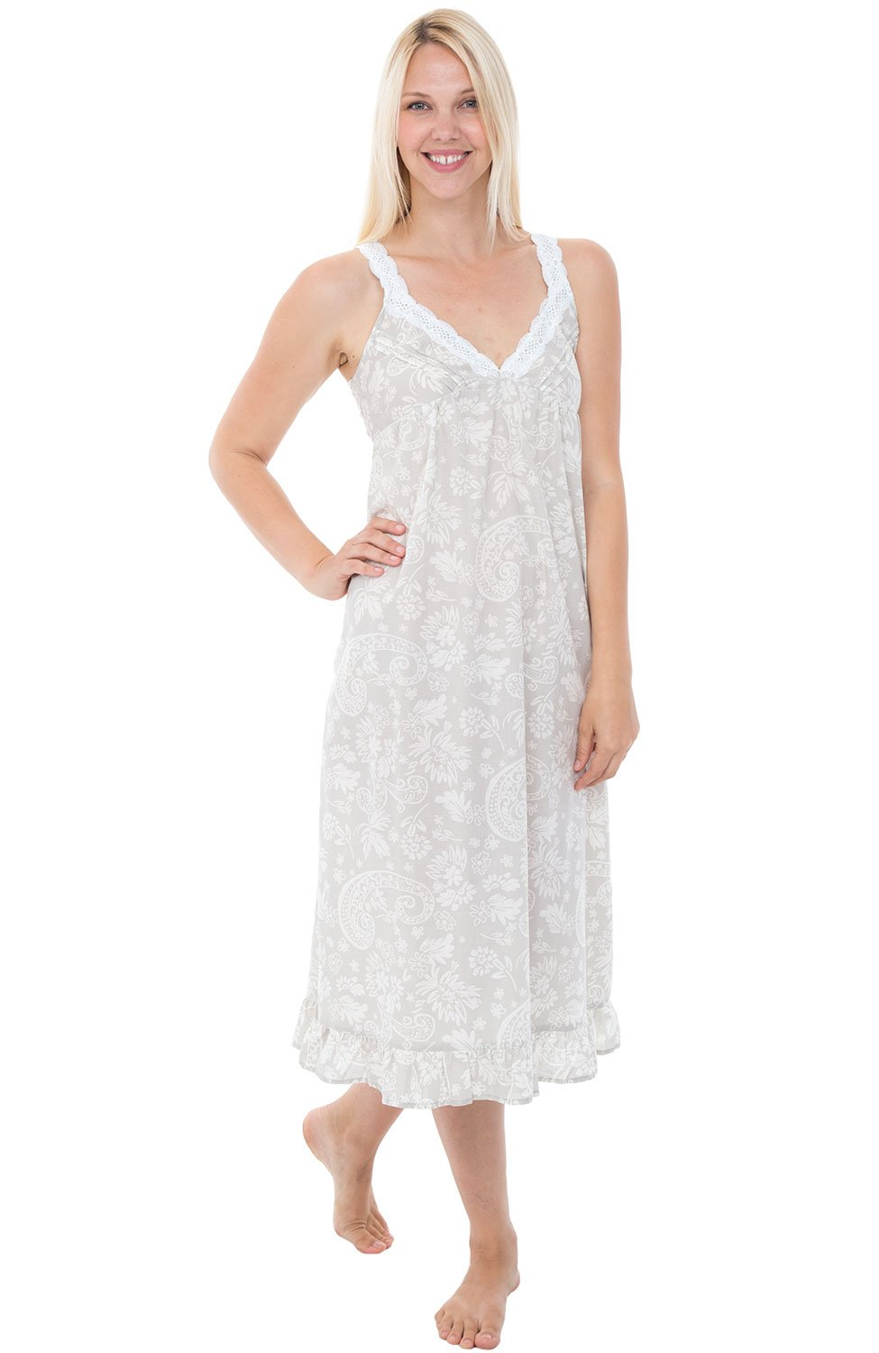 Alexander Del Rossa Womens 100% Cotton Lawn Nightgown, Sleeveless Deep V Gown