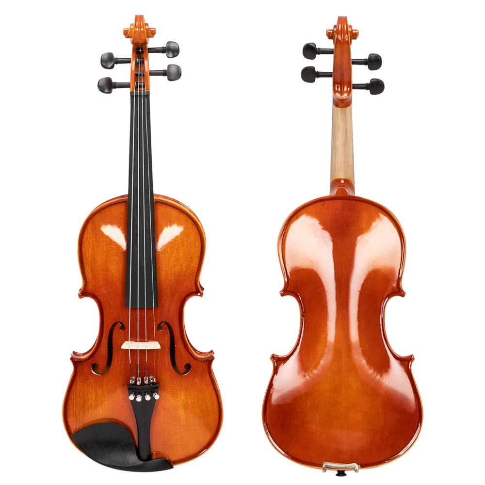 4/4 Violin Full Solid Wood Ebony Accessories, Case, Bow, Rosin, Plastic Shoulder Rest, Electronic Tuner and A Set of Strings,Bright Color (Light Natural)