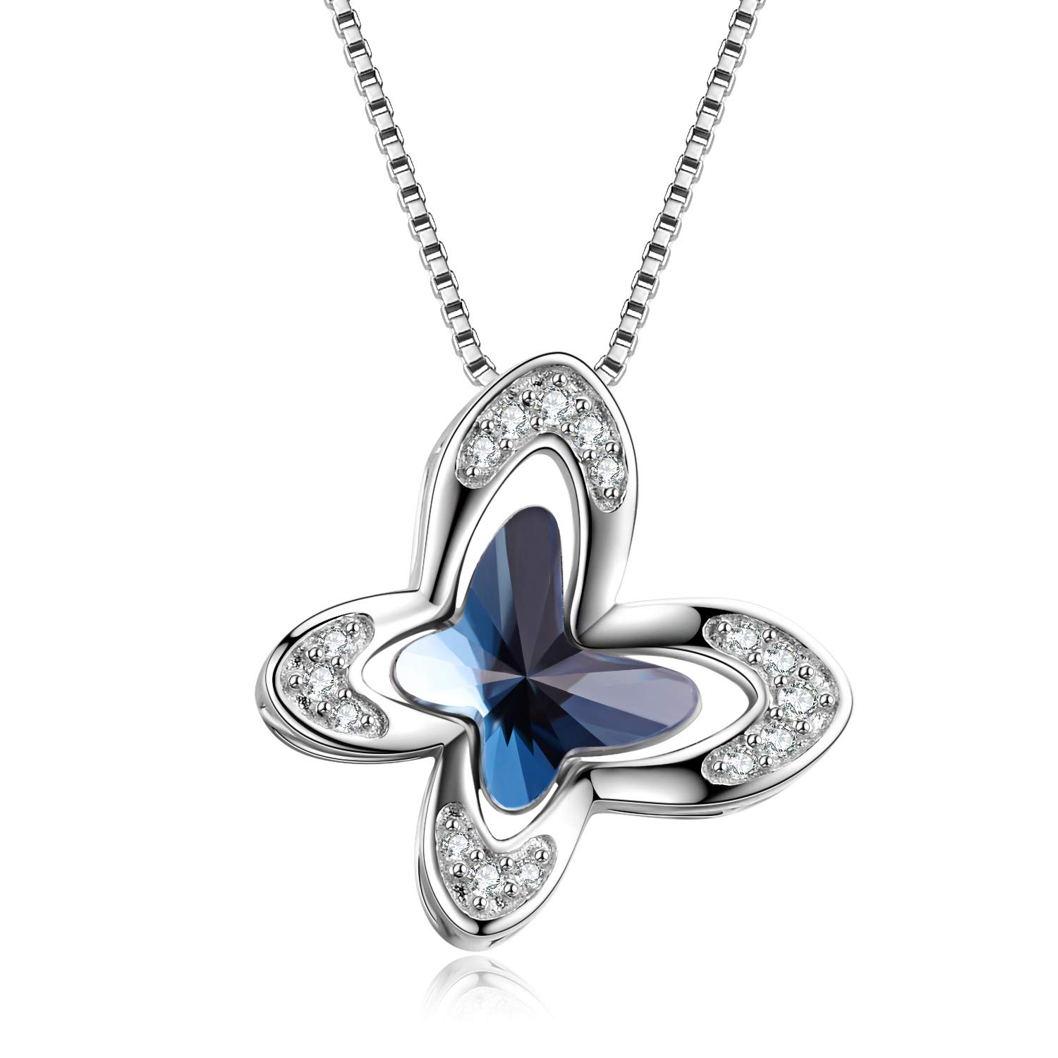 Sterling Silver Butterfly Necklace for Women, Blue Butterfly Pendant Made with Crystal from Swarovski, Dreamy Morpho Helena Butterfly Jewelry Gifts for Anniversary Birthday