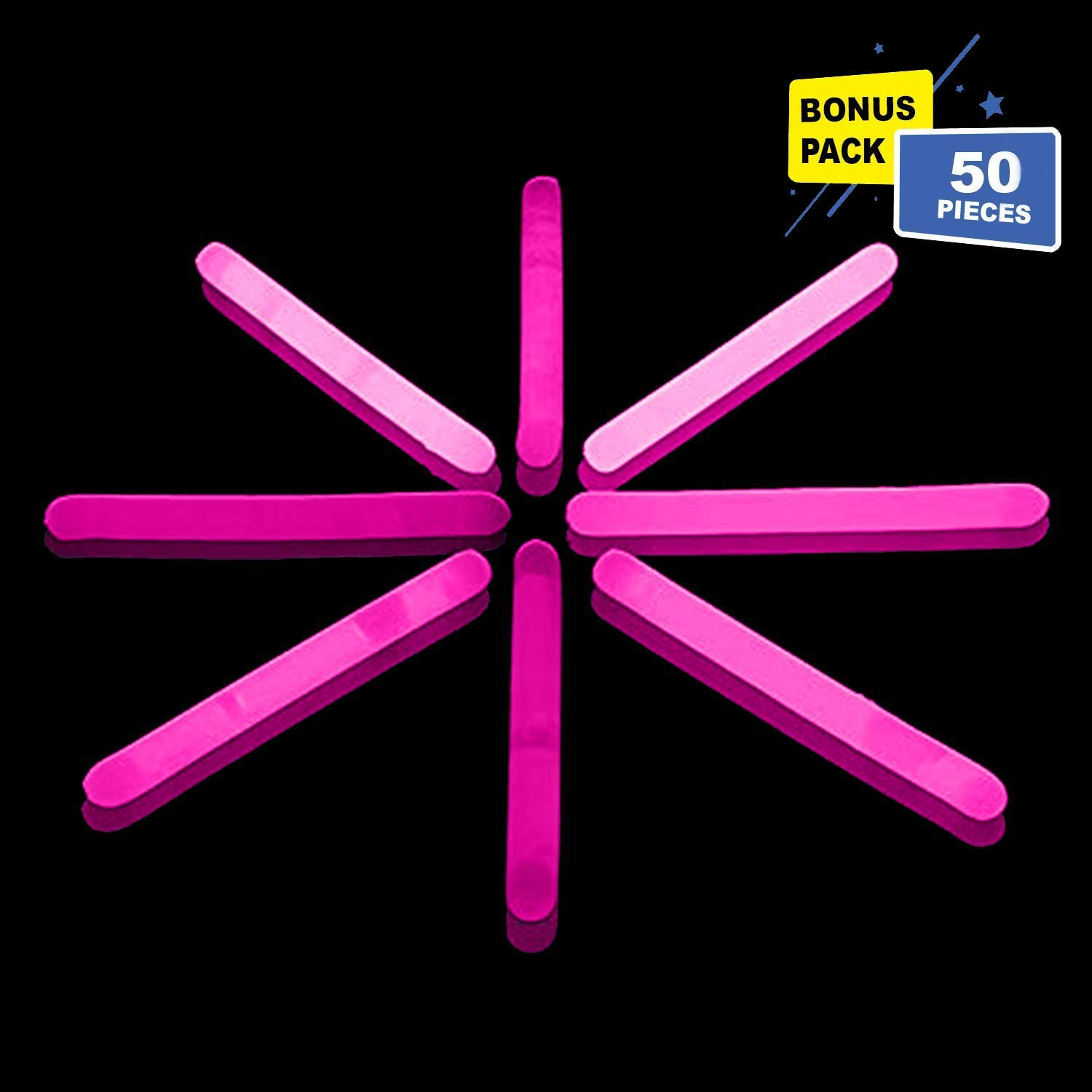 Lumistick 1.5 Inch Fishing Glow Sticks   Bright Color Snap Lights Glowsticks   Neon Mini Light for Swimming   Glow in The Dark Camping Night Party Favor Supplies (Pink, 50 Glow Sticks)