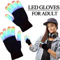 LED Flashing Gloves, 3 Colors 6 Modes Flashing Gloves 2020 New Year Eve Glow in The Dark Rave Party Supplies Party Favors Light Up Toys for Teens Men Women Christmas Holiday Birthday Party (Ages 11+)
