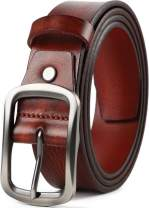Leather Belts for Mens Dress Belt,Full Grain Leather Belt,Single Prong Big Buckle - for Casual Jeans