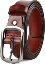 Leather Belts for Mens Dress Belt,Full Grain Leather Belt,Single Prong Big Buckle - for Casual Jeans