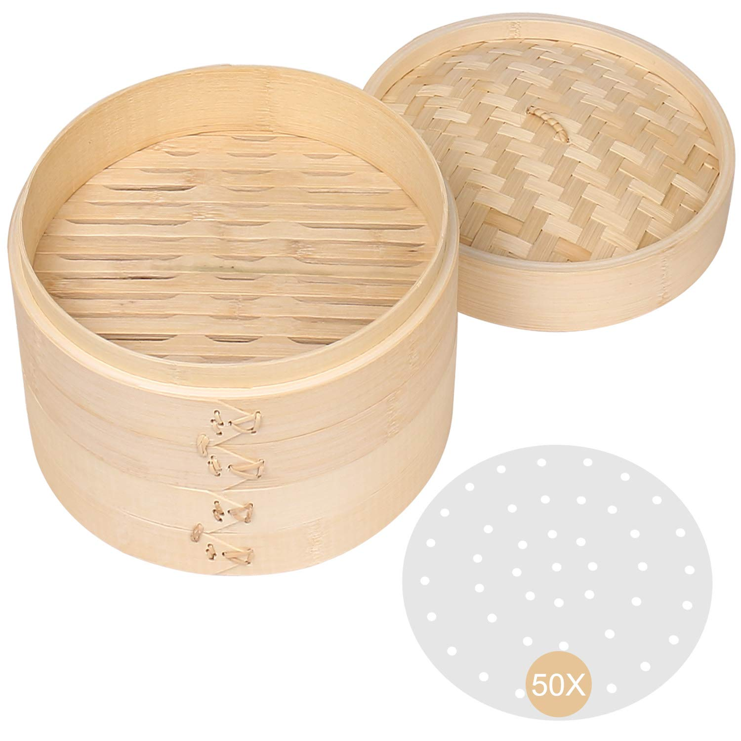 Bamboo Steamer Basket, 10 Inch Dumpling Steamer Bamboo, Two Tier Baskets with 50pcs Liners, Dim Sum Steamer & Bao Bun Chinese Food Steamers For Cooking Vegetables, Fish, Meat, Chicken, Veggies, Rice