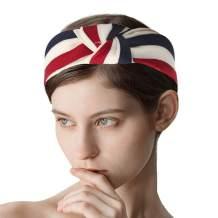 Jakawin Boho Knot Headbands Stripe Turban Hair Bands Sport Yoga Head Wrap No Slip Hair Hoops for Women and Girls HB027 (Beige)