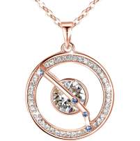 """Leafael """"Superstar Zodiac Constellation Pendant Necklace Made with Premium Crystal Horoscope Jewelry, Gold or Rose Gold Plated, 18""""+ 2"""""""