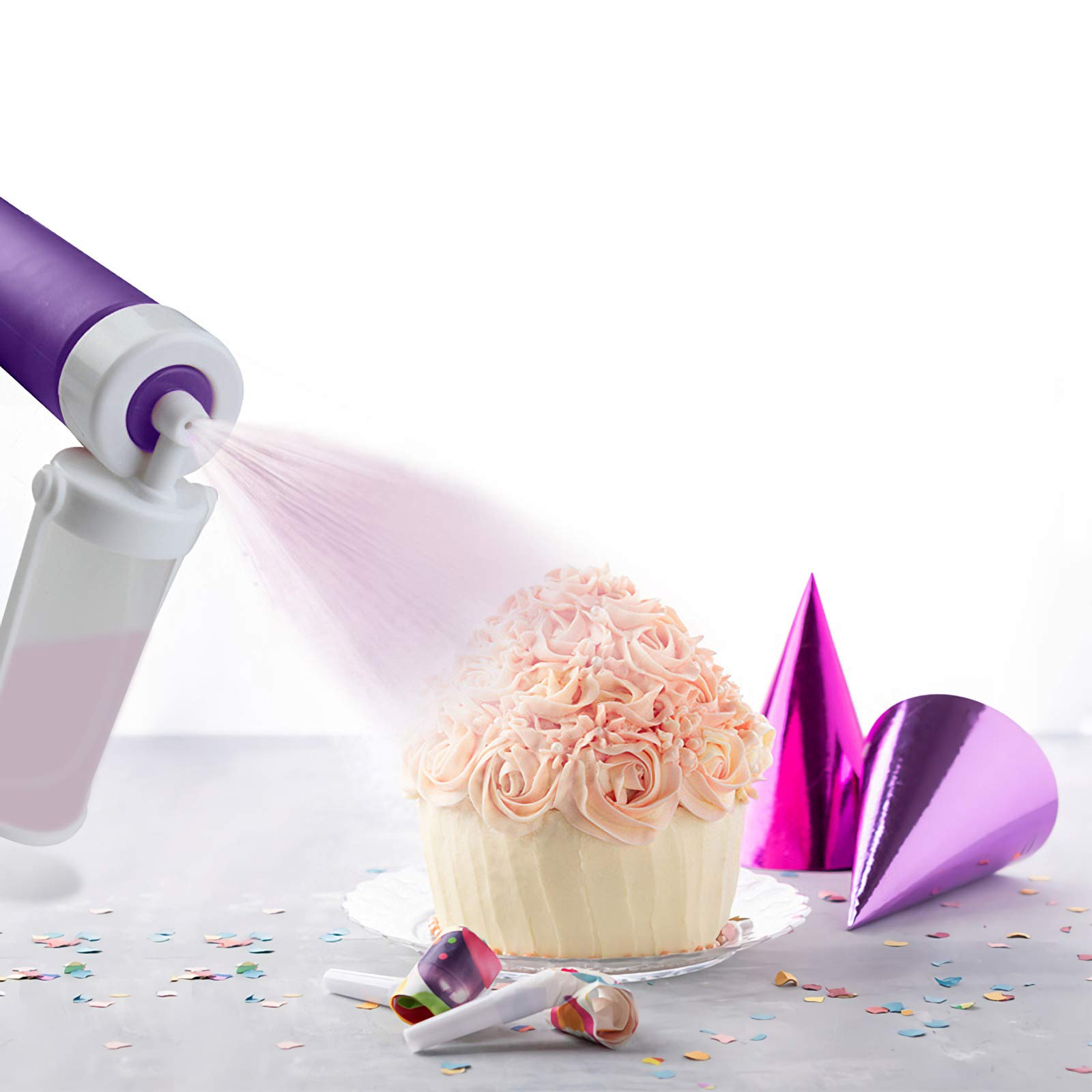 Handheld Airbrush Cake Coloring Duster - Food-Grade Plastic Spray Guns Cake Syringe Pen Sprinkles Decorating Set Dessert Candy Sculpting Tools - 4 Spare Spray Pump (Pink)