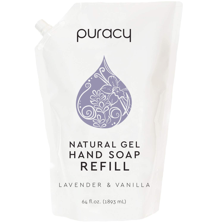 Puracy Natural Gel Hand Soap Refill, Lavender & Vanilla, Moisturizing Liquid Hand Wash, 64 Ounce