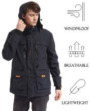 Yozai Mens Windproof Outdoors Jackets with Detachable and Muti-Pockets