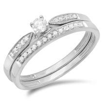 Dazzlingrock Collection 0.25 Carat (ctw) 10K Gold Round Diamond Ladies Bridal Engagement Ring Set 1/4 CT