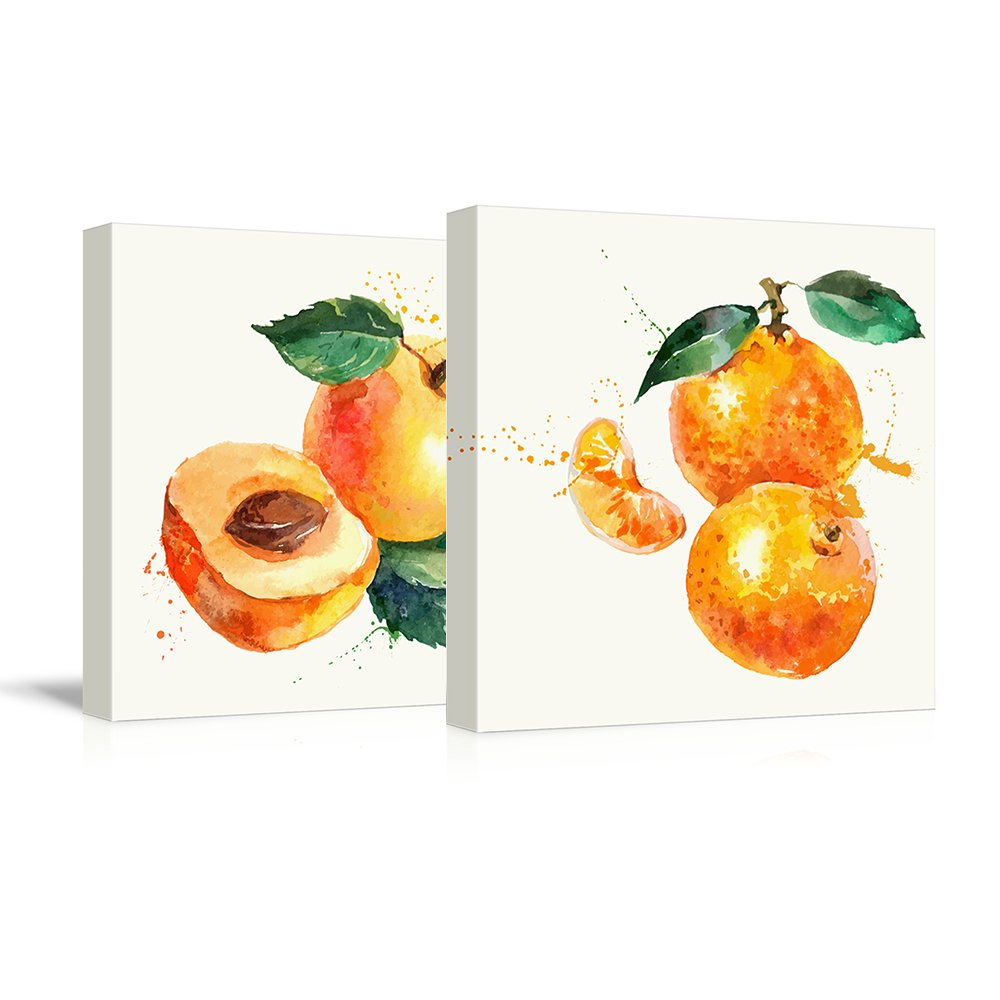 """wall26 - 2 Panel Square Canvas Wall Art - Apricot and Tangerine Watercolor 