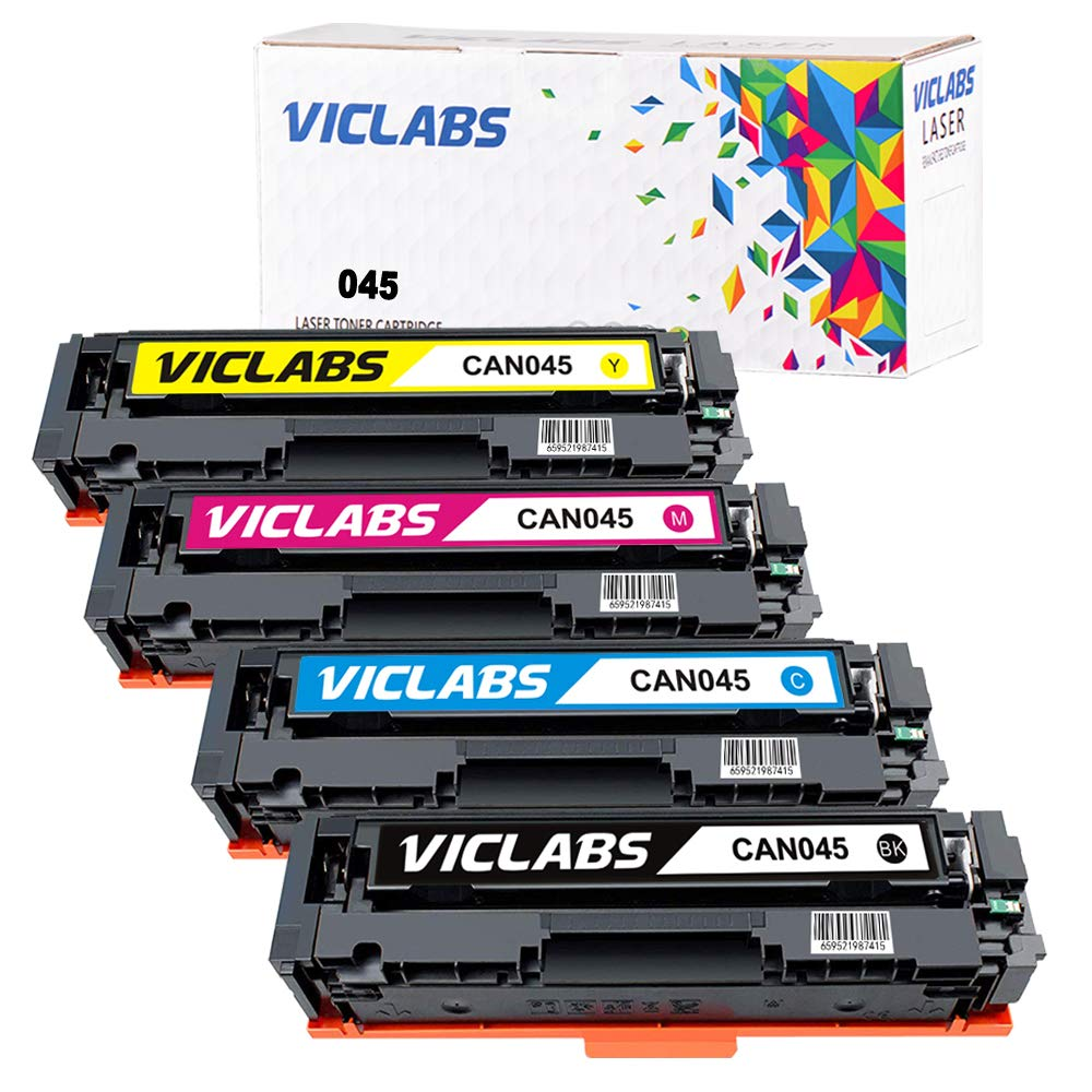 VicLabs Compatible 045 Toner Cartridge Set Replacement for Canon 045 Toner for use in Canon Mf634cdw Lbp612cdw Lbp613cdw Mf633dw Mf632cdw Mf635cx Laser Printer Ink(Black/Cyan/Yellow/Magenta-4Pack)