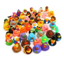 Pull Together 50 Pack Rubber Duck Bath Toy Assortment - Bulk Floater Duck for Kids - Baby Showers Accessories - Party Favors, Birthdays, Bath Time, and More (25 Varieties)