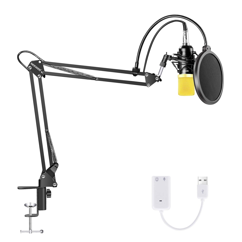 Neewer Condenser Microphone Bundle, Upgraded NW-700 Professional Cardioid Studio Mic/Adjustable Suspension Scissor Arm Stand/Shock Mount/Pop Filter/USB Sound Card for Studio Recording Broadcasting