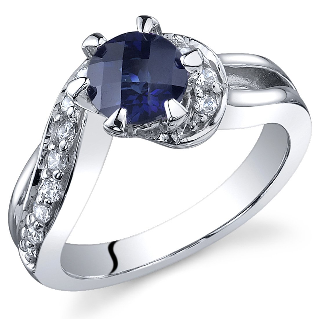 Created Sapphire Enagagement Ring 1.25 Carats Sterling Silver Sizes 5 to 9